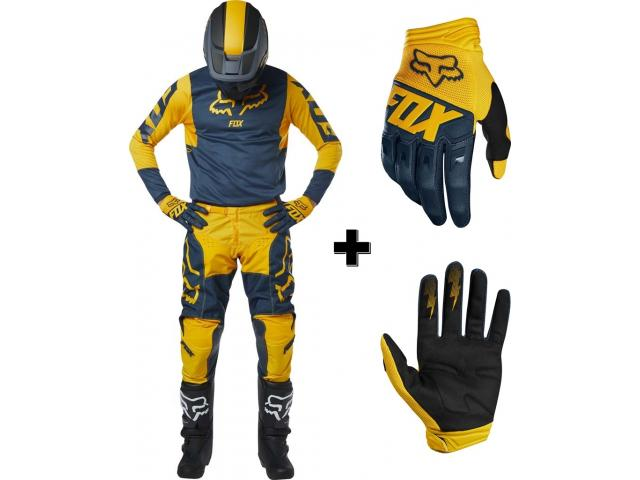 PROMO COMPLETO 180 PRZM NAVY-YELLOW + GUANTI FOX DIRTPAW NAVY-YELLOW 2019